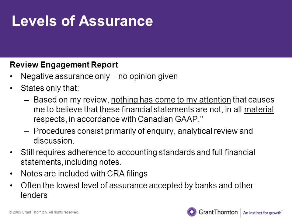 Levels of Assurance Review Engagement Report