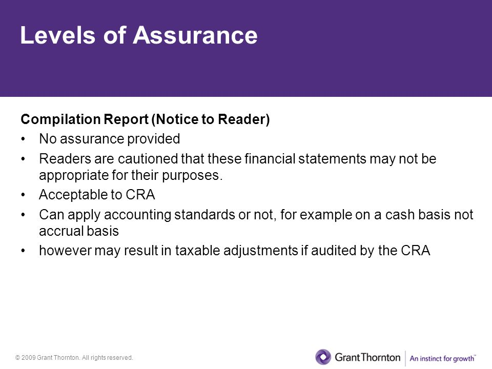 Levels of Assurance Compilation Report (Notice to Reader)