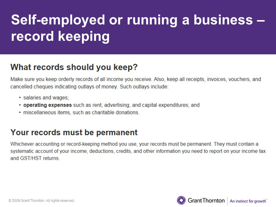 Self-employed or running a business – record keeping