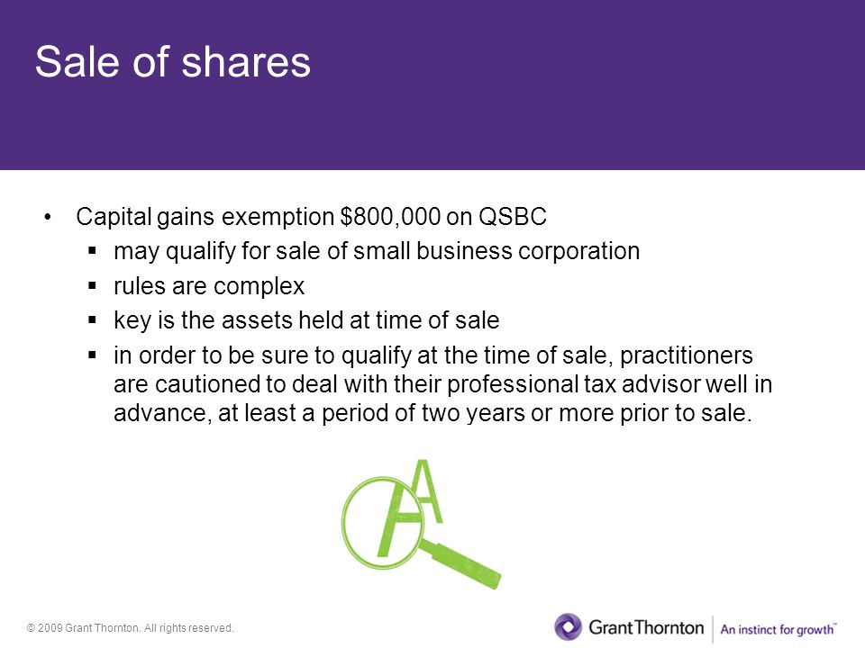 Sale of shares Capital gains exemption $800,000 on QSBC