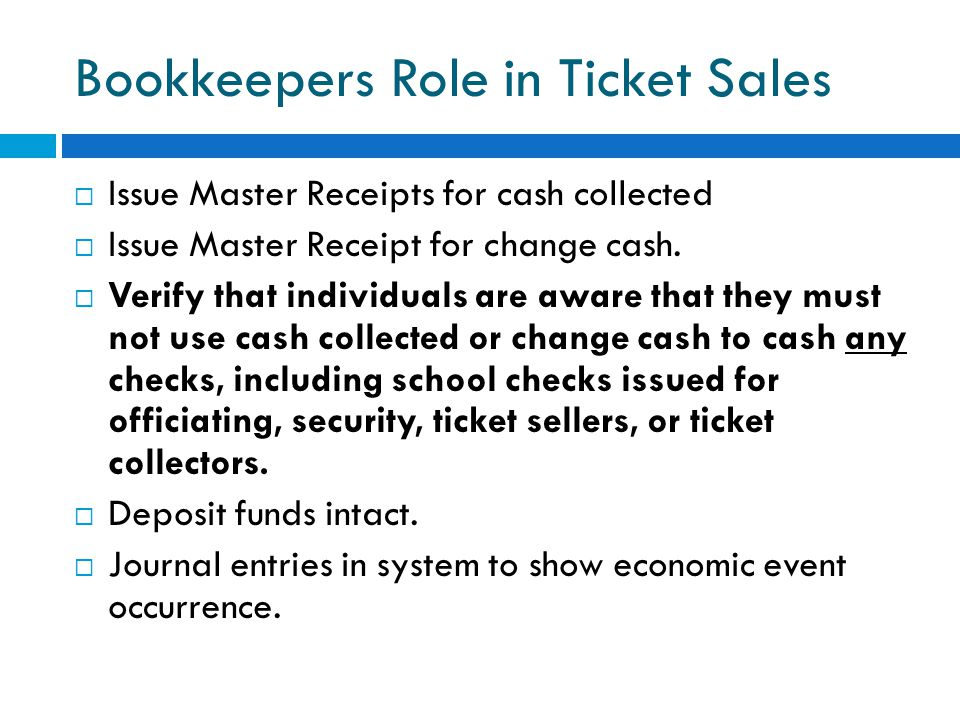 Bookkeepers Role in Ticket Sales