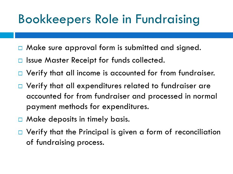 Bookkeepers Role in Fundraising