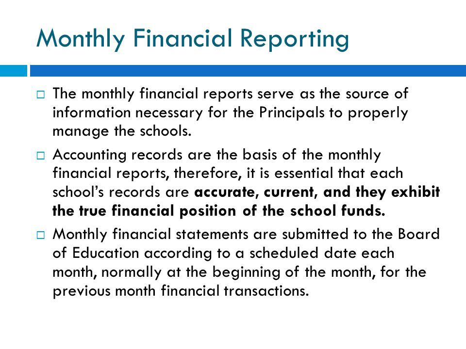 Monthly Financial Reporting