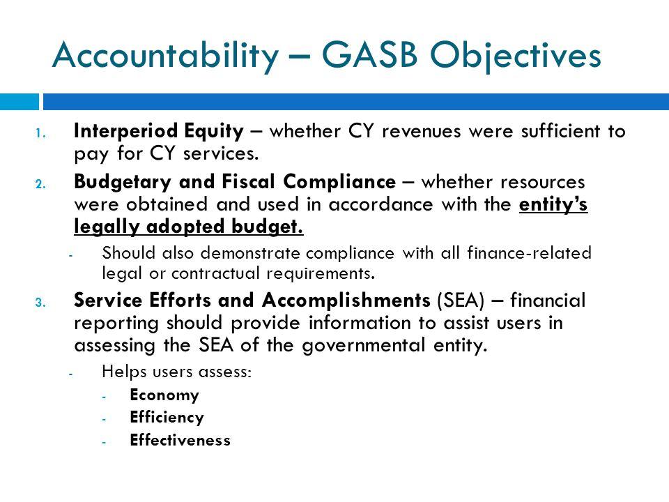 Accountability – GASB Objectives