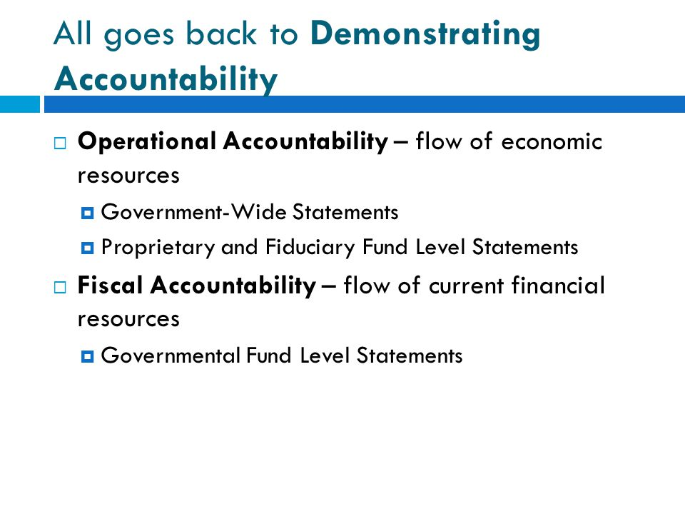 All goes back to Demonstrating Accountability
