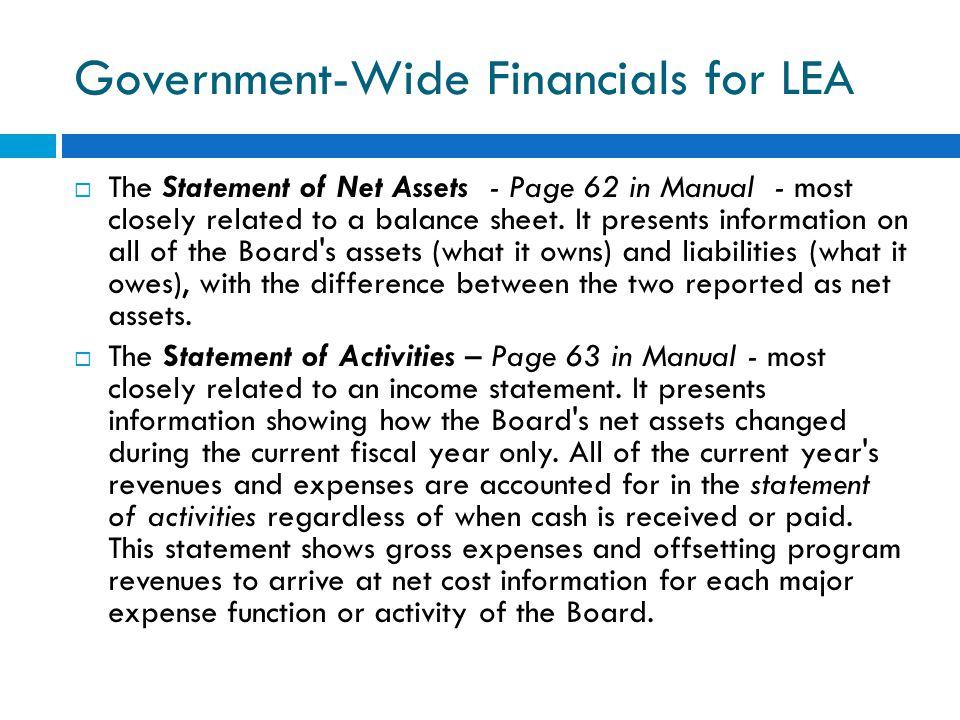 Government-Wide Financials for LEA
