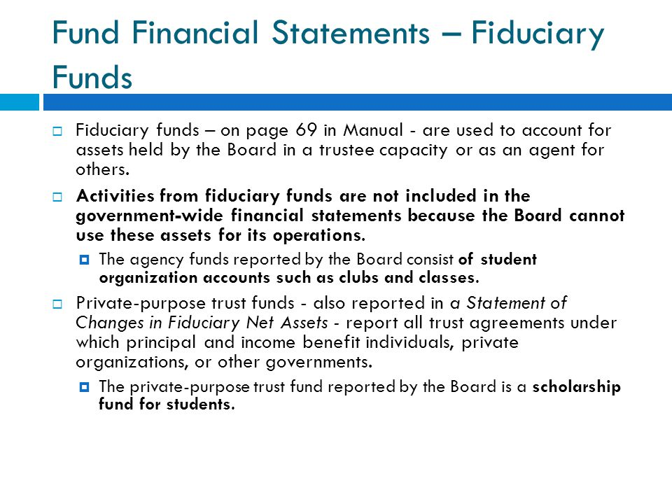 Fund Financial Statements – Fiduciary Funds