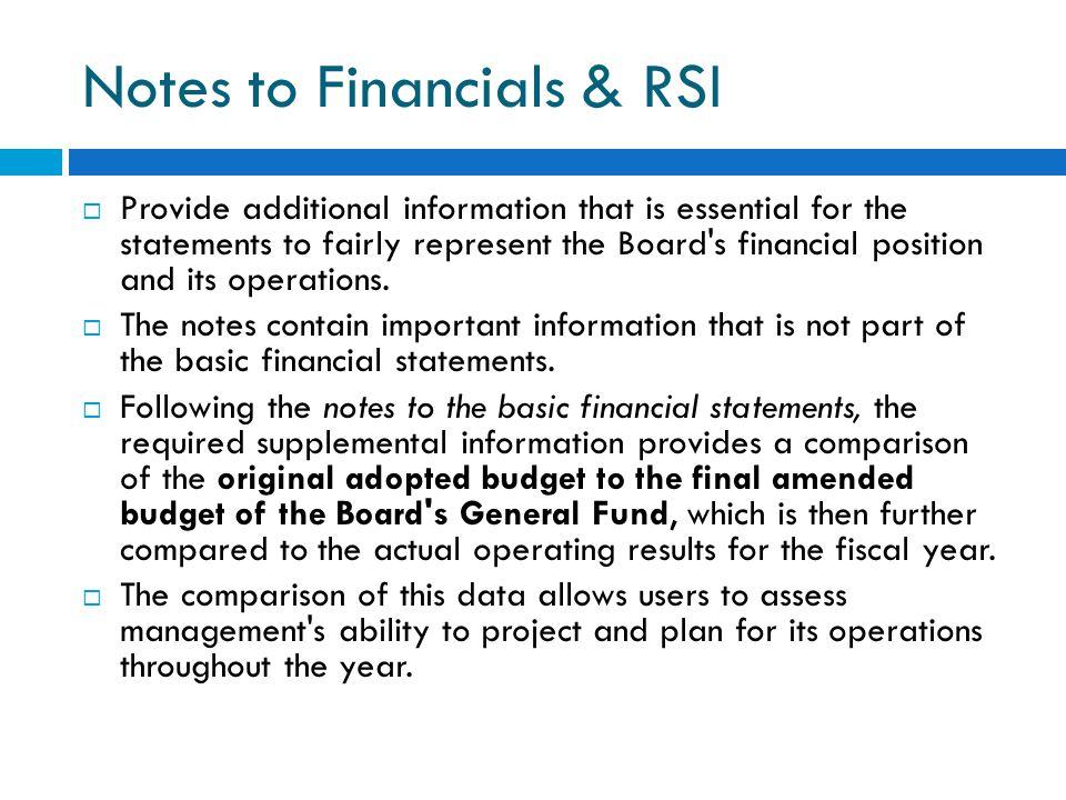 Notes to Financials & RSI
