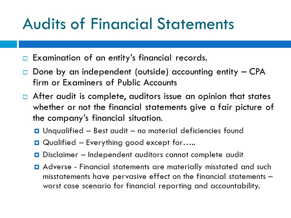Audits of Financial Statements