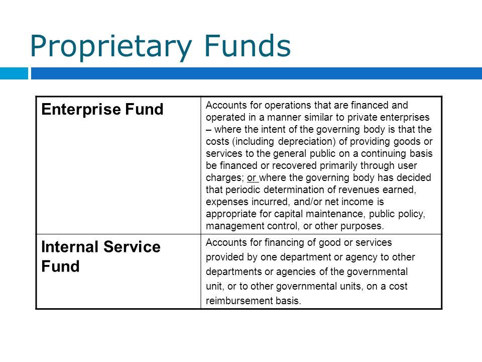 Proprietary Funds Enterprise Fund Internal Service Fund