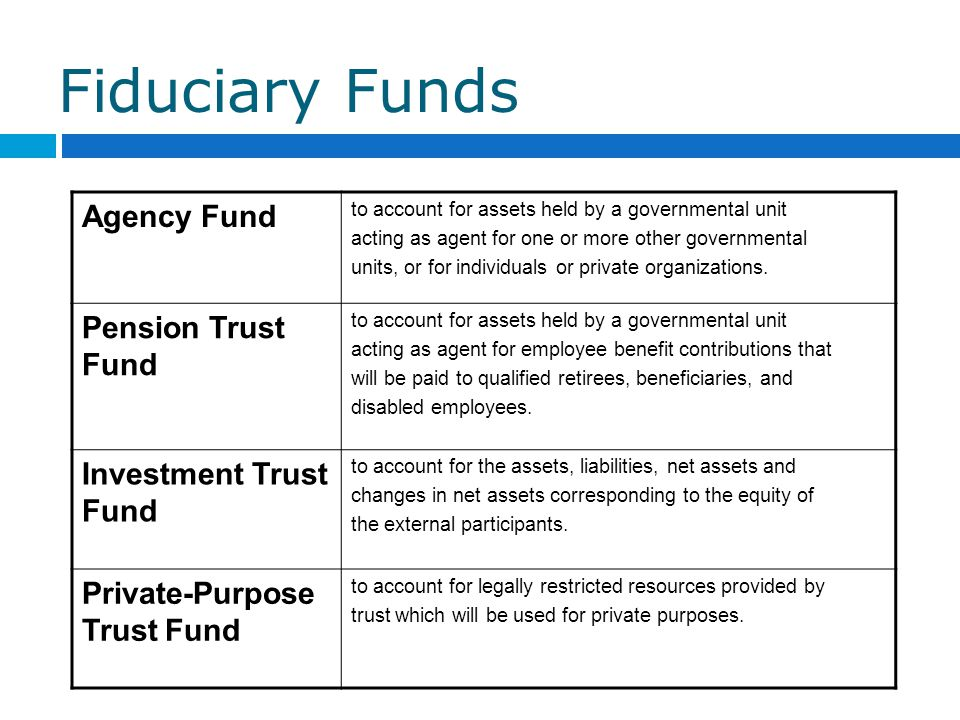Fiduciary Funds Agency Fund Pension Trust Fund Investment Trust Fund