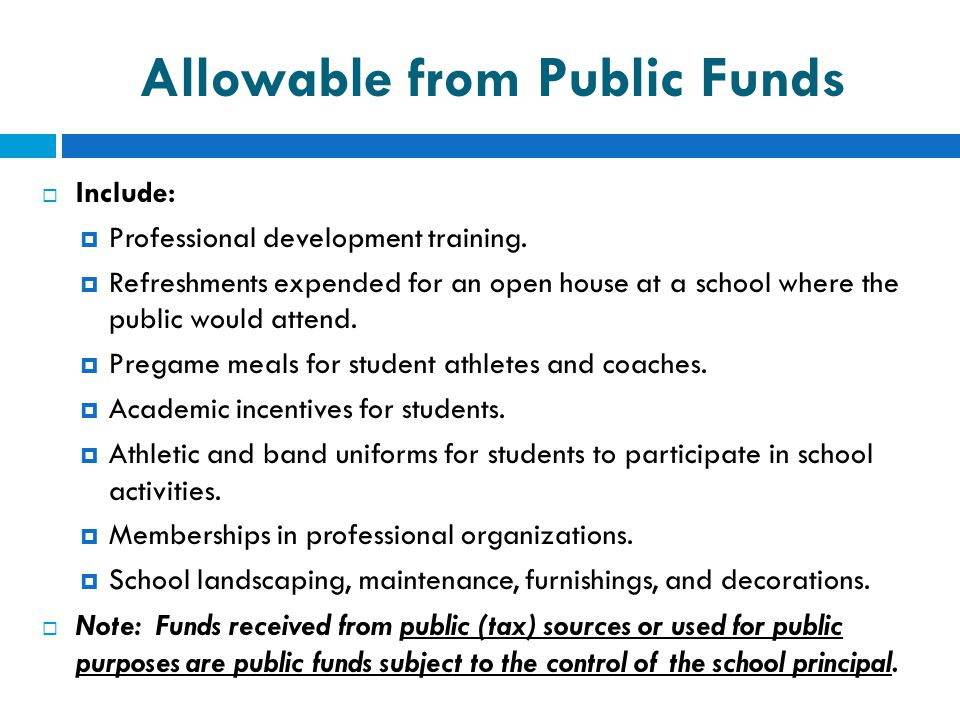 Allowable from Public Funds