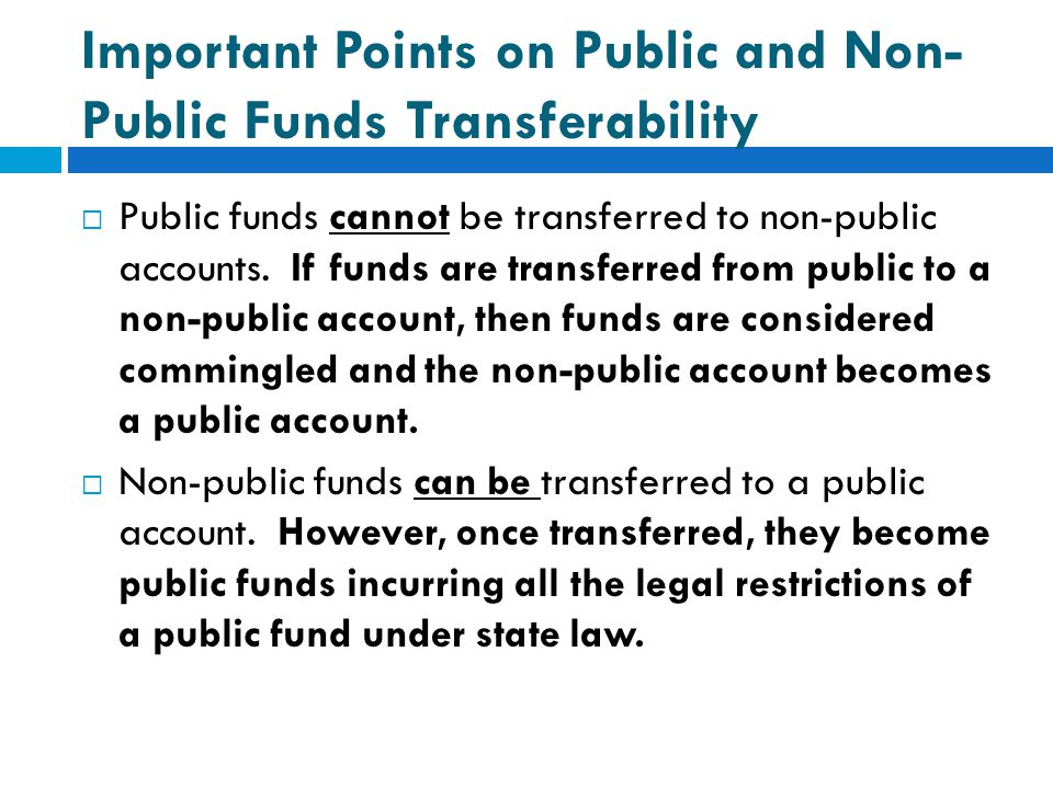 Important Points on Public and Non-Public Funds Transferability