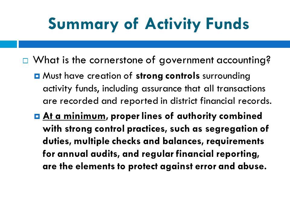 Summary of Activity Funds
