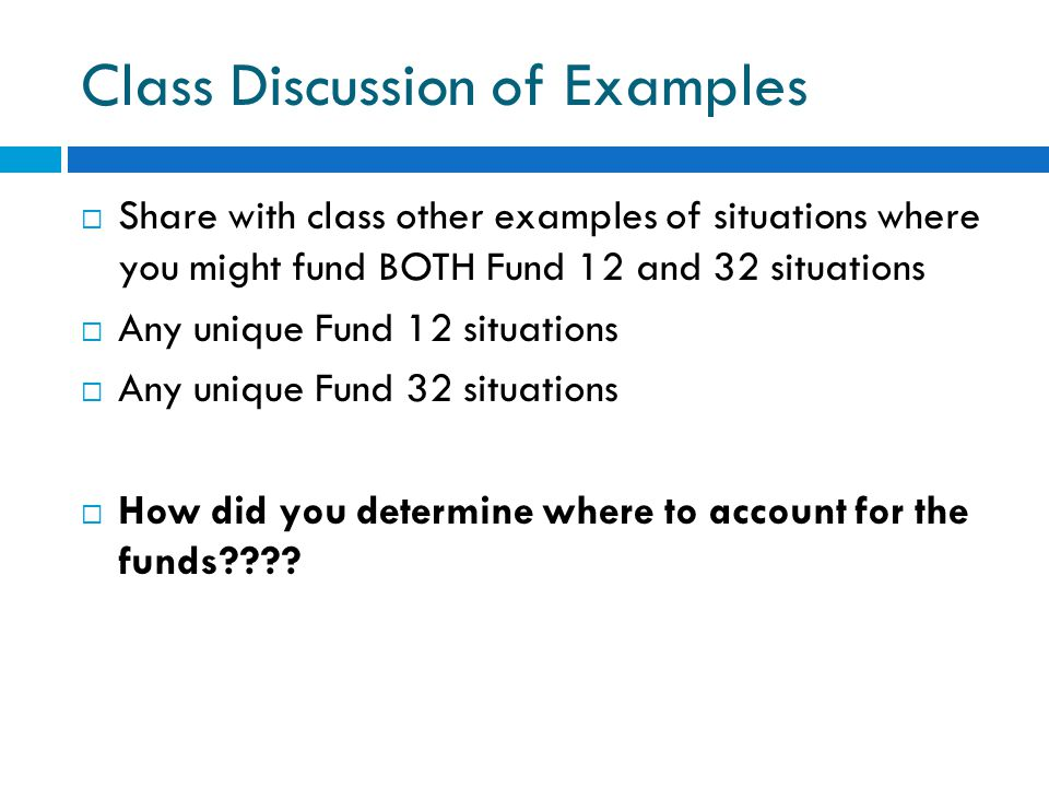 Class Discussion of Examples