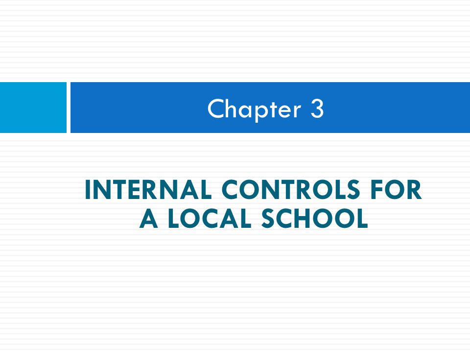 INTERNAL CONTROLS FOR A LOCAL SCHOOL