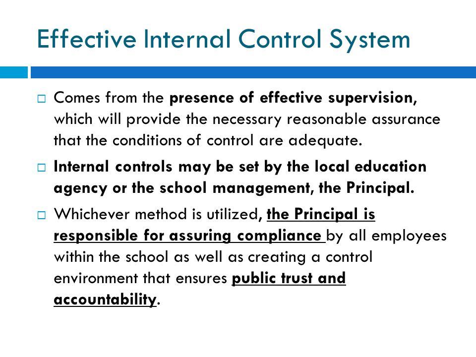 Effective Internal Control System