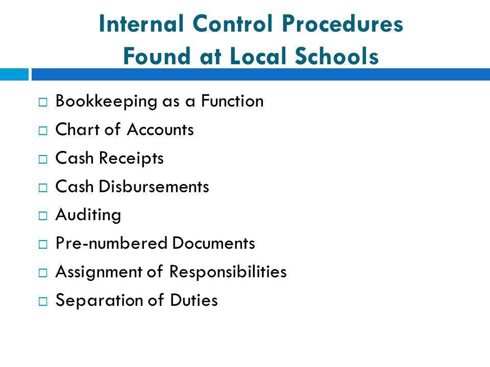 Internal Control Procedures Found at Local Schools