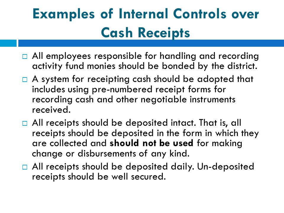 Examples of Internal Controls over Cash Receipts