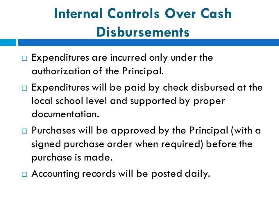 Internal Controls Over Cash Disbursements