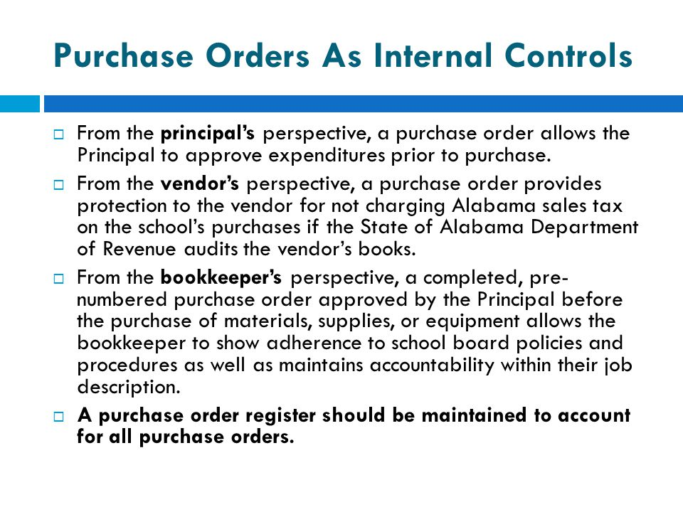 Purchase Orders As Internal Controls