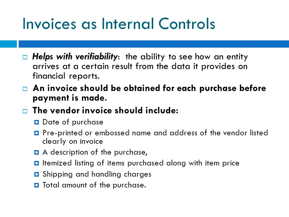 Invoices as Internal Controls