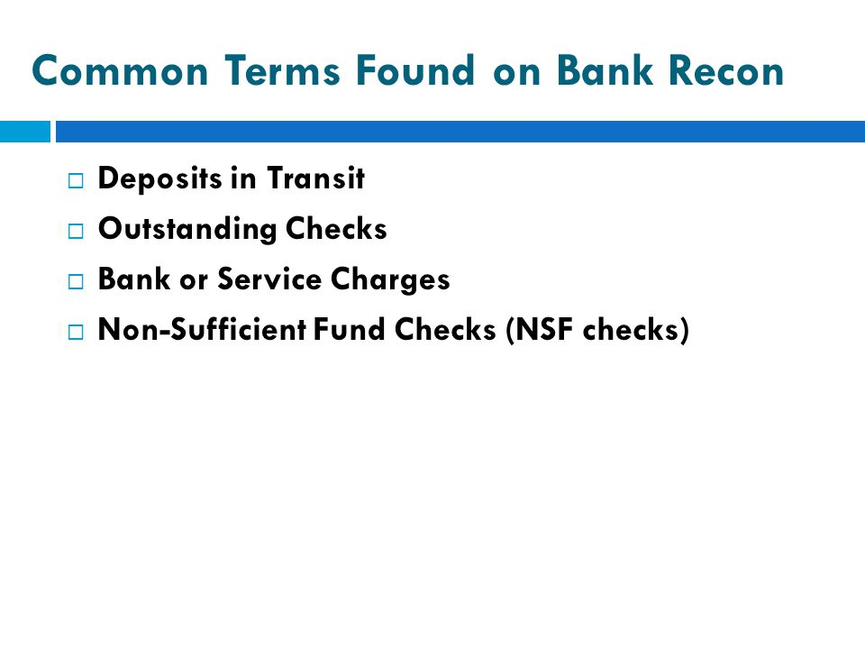 Common Terms Found on Bank Recon