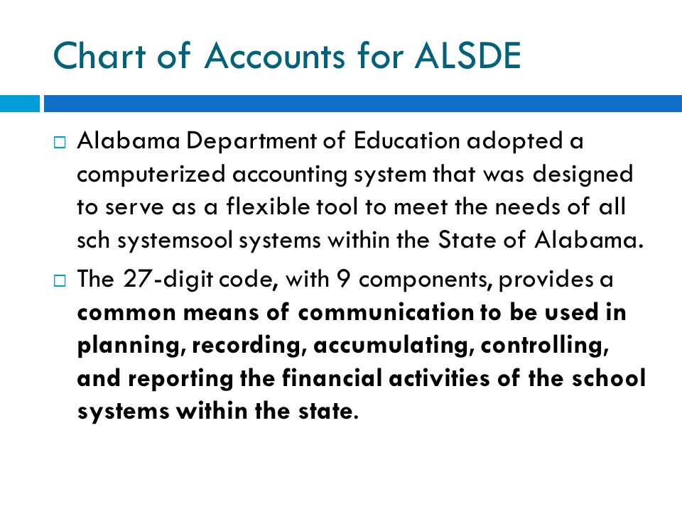 Chart of Accounts for ALSDE