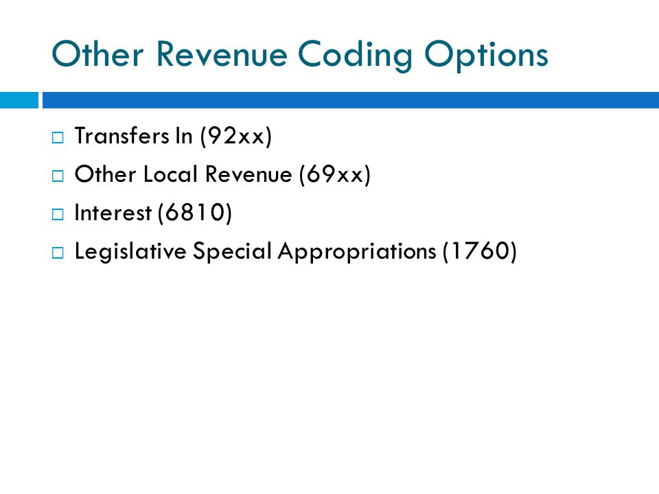Other Revenue Coding Options