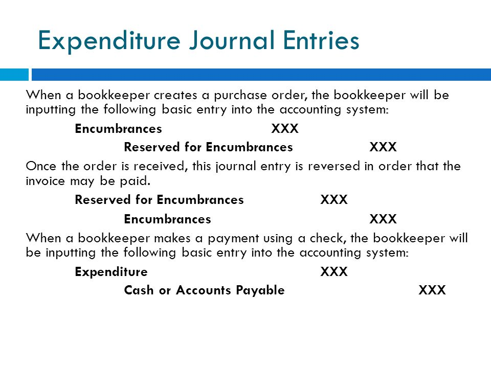 Expenditure Journal Entries