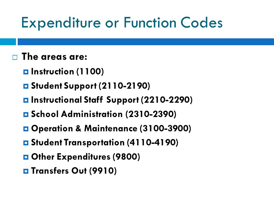 Expenditure or Function Codes