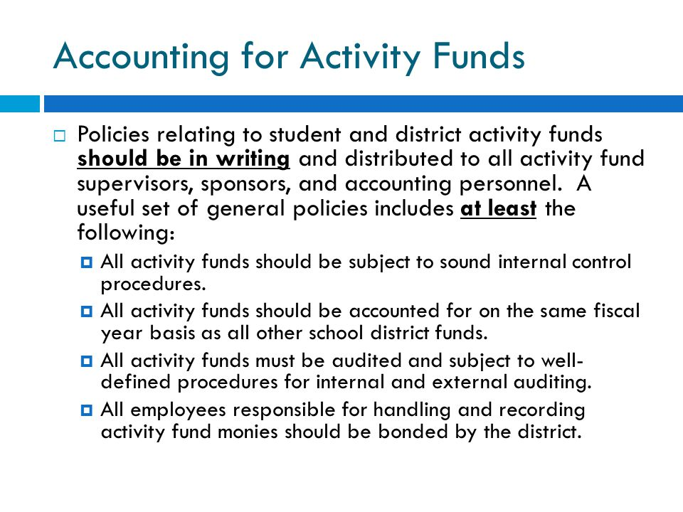 Accounting for Activity Funds