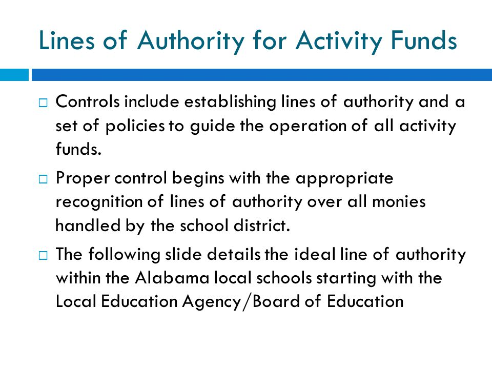 Lines of Authority for Activity Funds