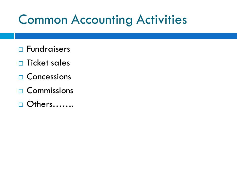 Common Accounting Activities