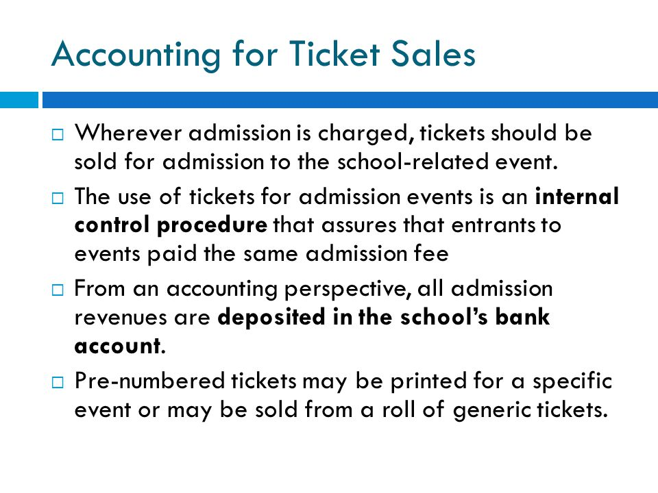 Accounting for Ticket Sales