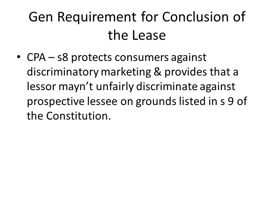 Gen Requirement for Conclusion of the Lease