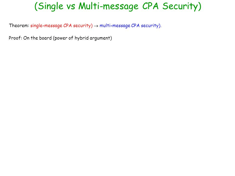 (Single vs Multi-message CPA Security)
