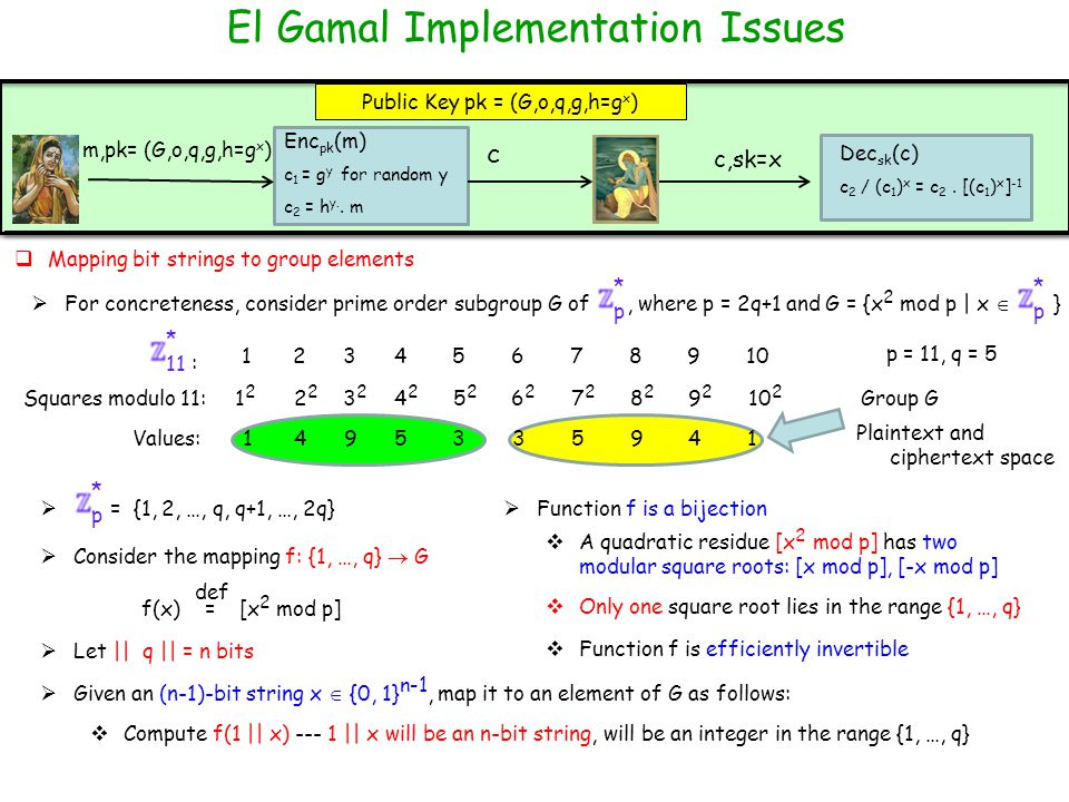 El Gamal Implementation Issues