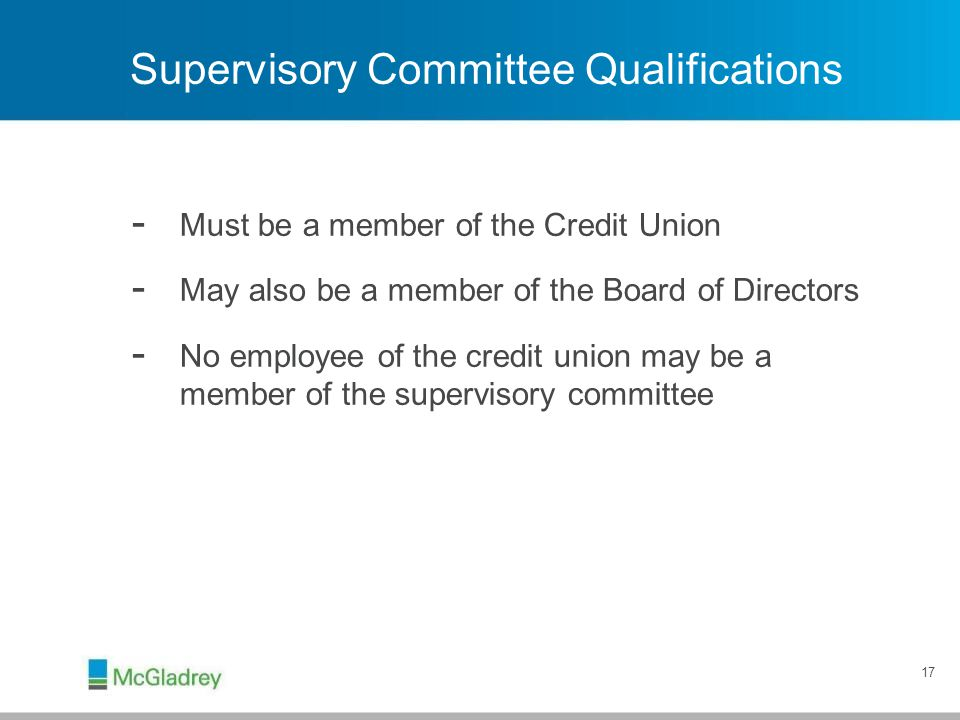 Supervisory Committee Qualifications
