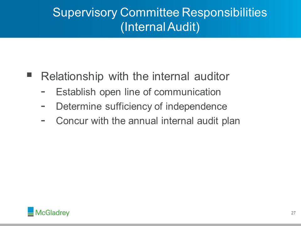Supervisory Committee Responsibilities (Internal Audit)