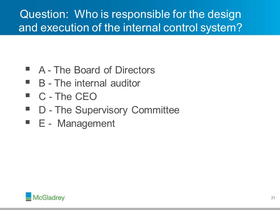 Credit Union's System of Internal Controls