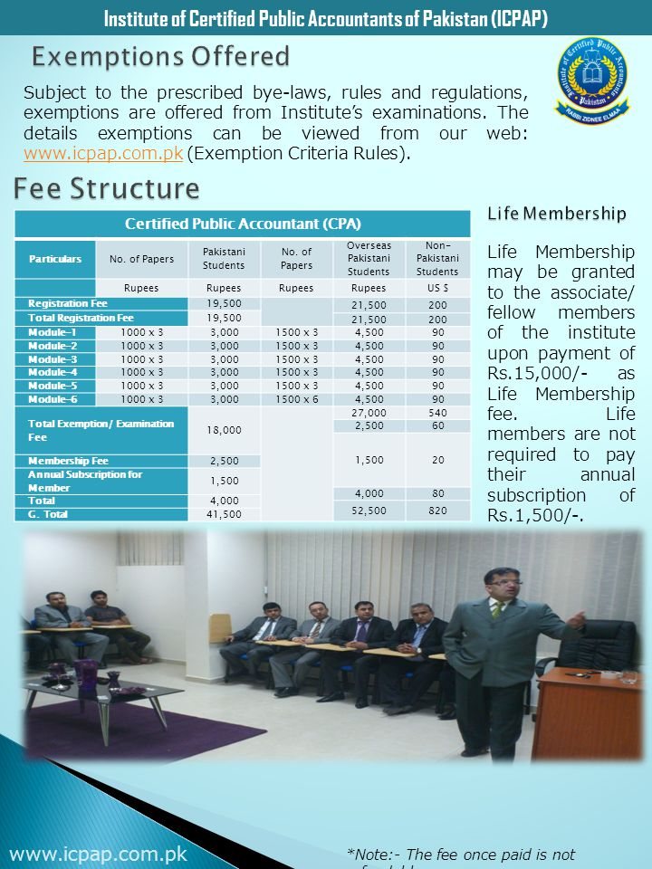 Fee Structure Exemptions Offered