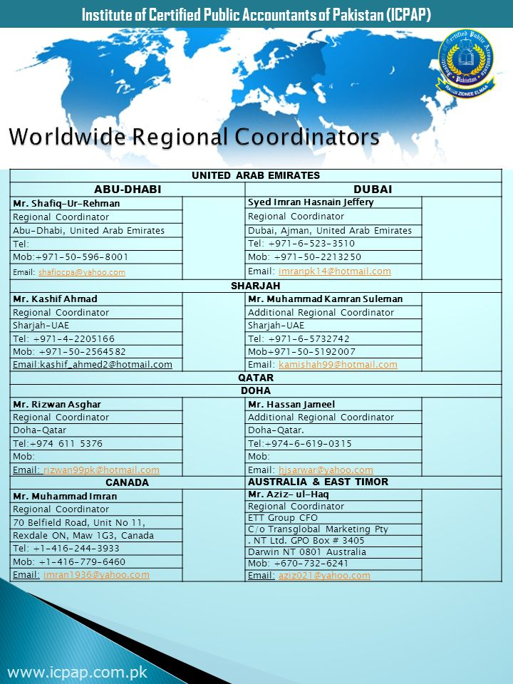Worldwide Regional Coordinators