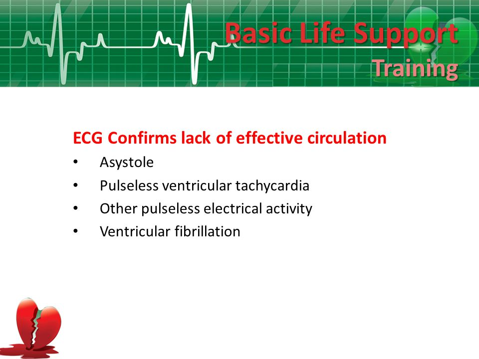 Basic Life Support Training ECG Confirms lack of effective circulation