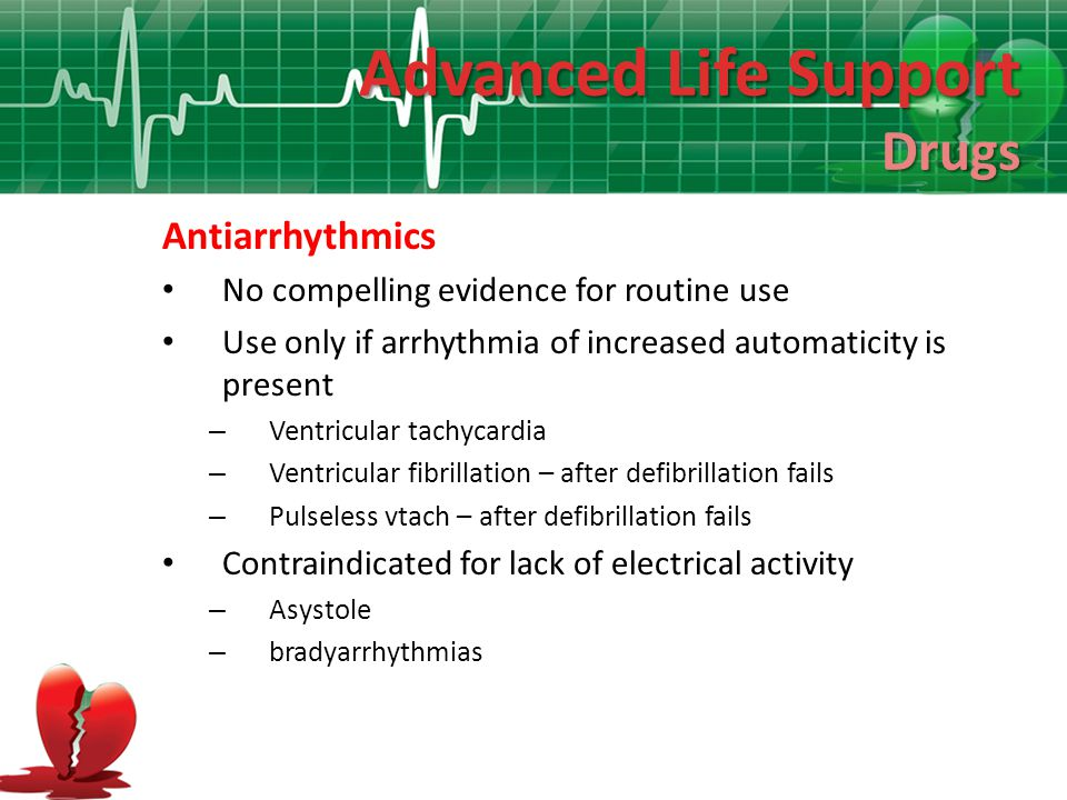 Advanced Life Support Drugs Antiarrhythmics