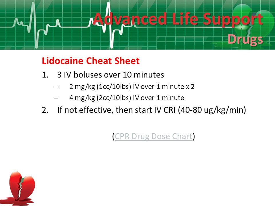 Advanced Life Support Drugs Lidocaine Cheat Sheet