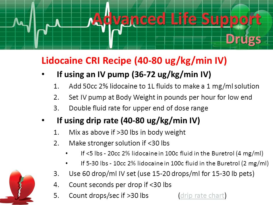 Advanced Life Support Drugs Lidocaine CRI Recipe (40-80 ug/kg/min IV)