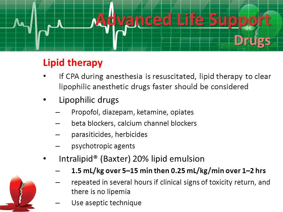 Advanced Life Support Drugs Lipid therapy Lipophilic drugs