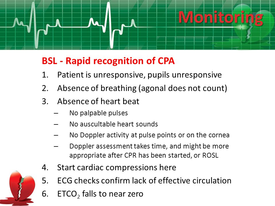 Monitoring BSL - Rapid recognition of CPA