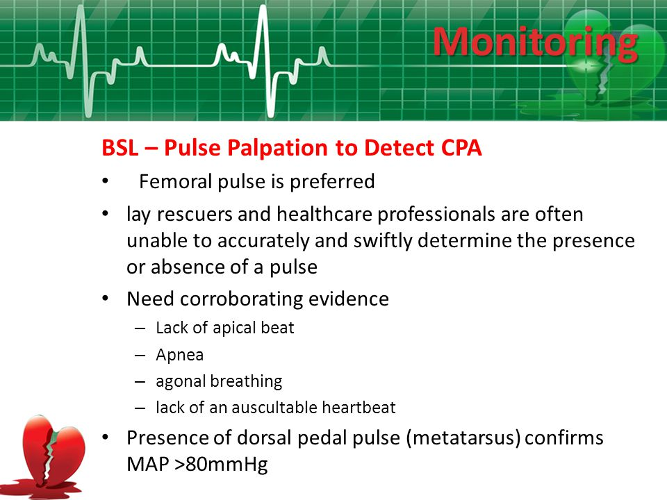 Monitoring BSL – Pulse Palpation to Detect CPA